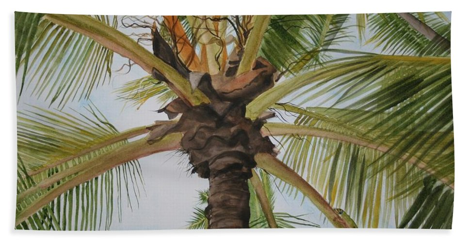 Palm Tree Hand Towel featuring the painting Gecko Heaven by Jean Blackmer