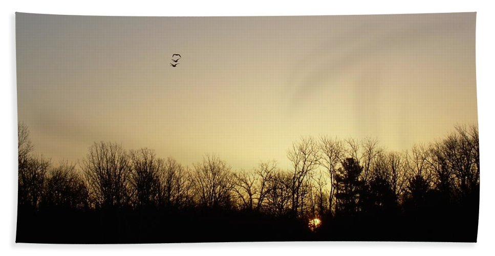 Geese Bath Sheet featuring the photograph Geese At Sunrise by Kent Lorentzen
