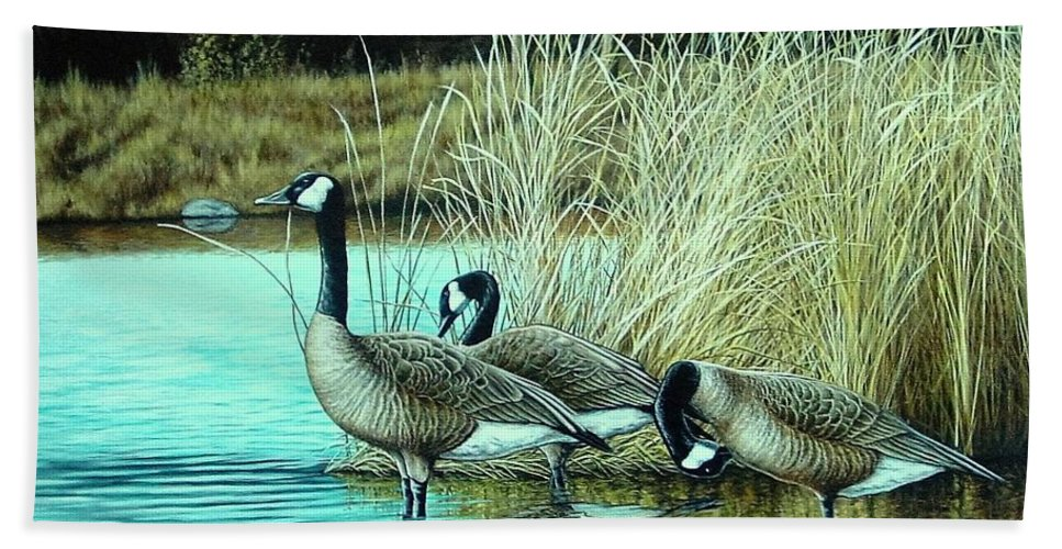Geese Hand Towel featuring the painting Geese On Watch by Anthony J Padgett