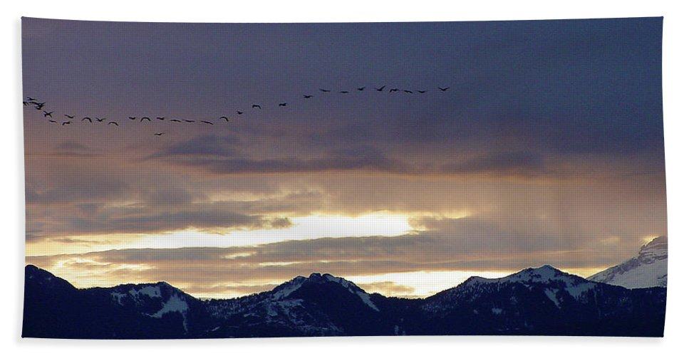 Cascade Bath Sheet featuring the photograph Geese Over The Cascades by Shirley Heyn