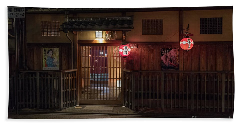Travel Hand Towel featuring the photograph Geisha Tea House, Gion, Kyoto, Japan by Perry Rodriguez