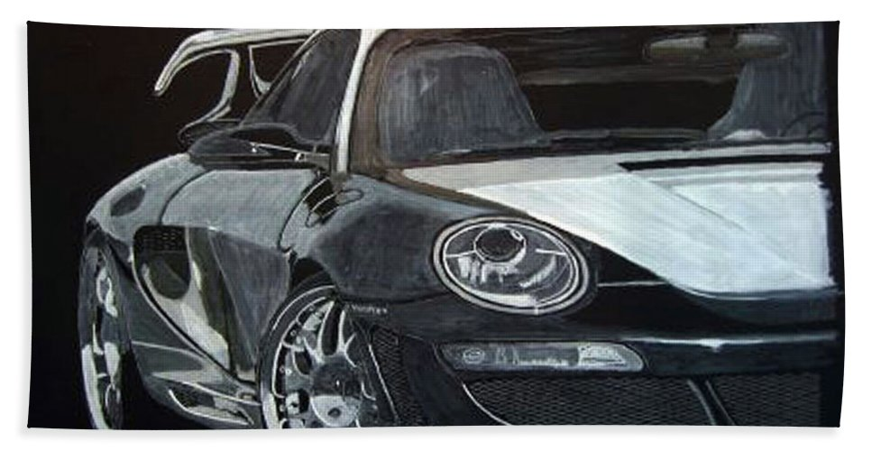 Car Hand Towel featuring the painting Gemballa Porsche Right by Richard Le Page