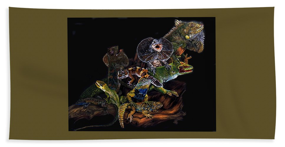 Lizards Bath Sheet featuring the drawing Gems And Jewels by Barbara Keith