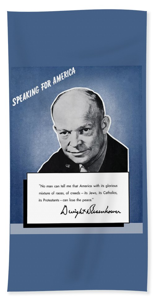 Eisenhower Hand Towel featuring the painting General Eisenhower Speaking For America by War Is Hell Store
