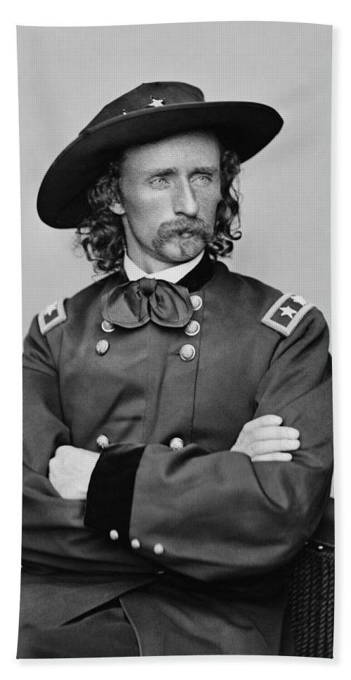 George Armstrong Custer Bath Sheet featuring the photograph General George Armstrong Custer by War Is Hell Store