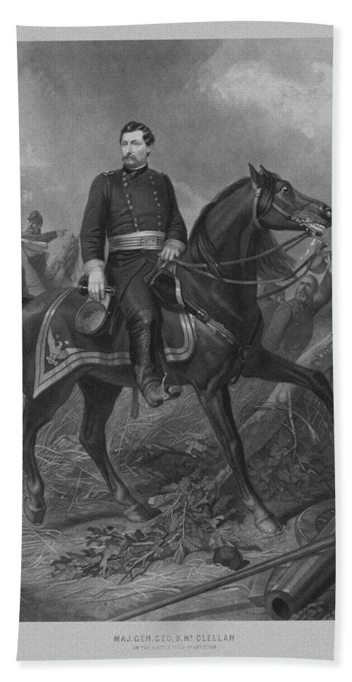 George Mcclellan Hand Towel featuring the mixed media General George Mcclellan On Horseback by War Is Hell Store