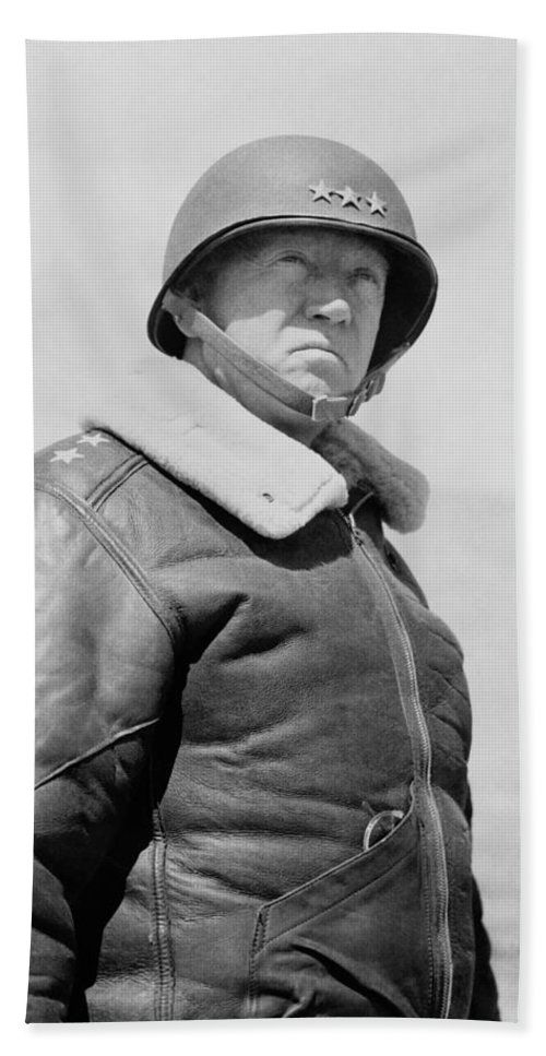 General Patton Bath Towel featuring the photograph General George S. Patton by War Is Hell Store