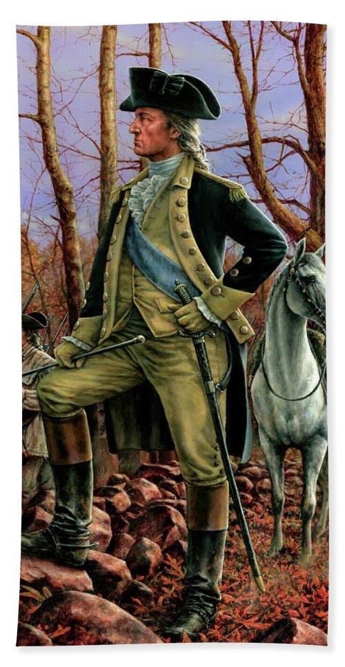 George Washington Bath Sheet featuring the painting General George Washington by Dan Nance
