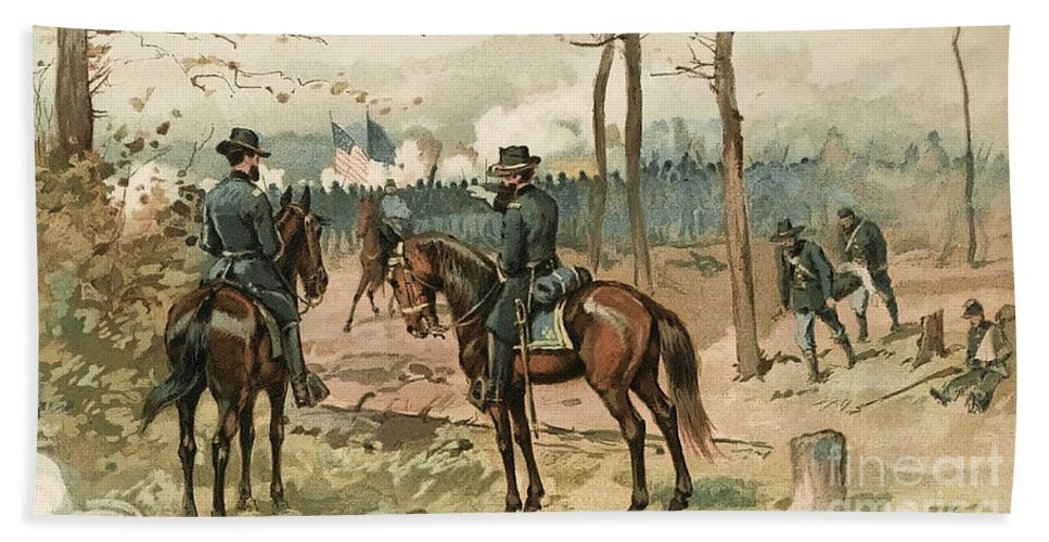 Military Hand Towel featuring the photograph General Grant, Battle Of Shiloh, 1862 by Wellcome Images