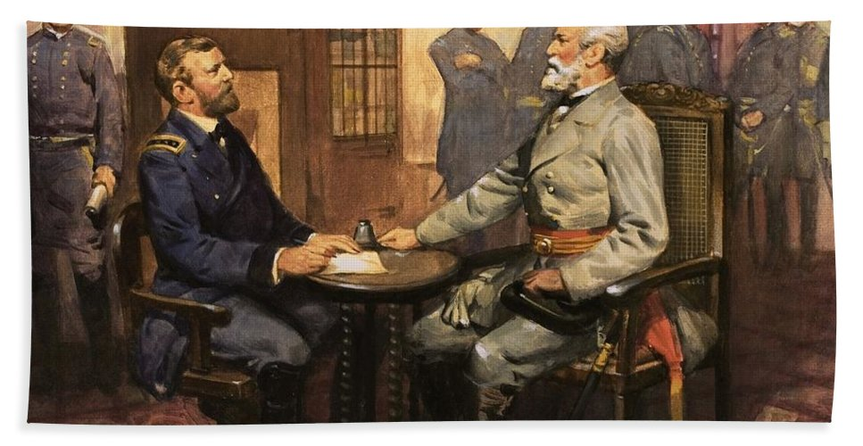 General Grant Meets Robert E. Lee By English School (20th Century) Great Commanders: Hero Of The Southland. General Grant Meets Robert E. Lee. America; Army; Soldiers; American; Flag; American Civil War; Robert E Lee; General Grant; Surrender; Confederate; Union; Us Bath Towel featuring the painting General Grant Meets Robert E Lee by English School