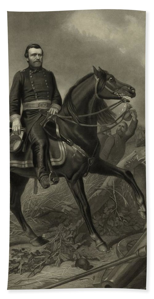 Civil War Bath Towel featuring the painting General Grant On Horseback by War Is Hell Store