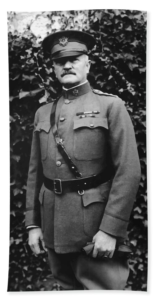 Ww1 Bath Towel featuring the painting General John J. Pershing by War Is Hell Store