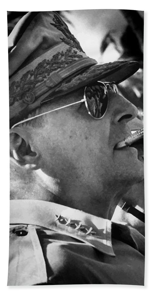 Douglas Macarthur Bath Towel featuring the painting General Macarthur by War Is Hell Store