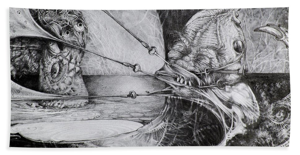 Surrealism Bath Sheet featuring the drawing General Peckerwood In Purgatory by Otto Rapp