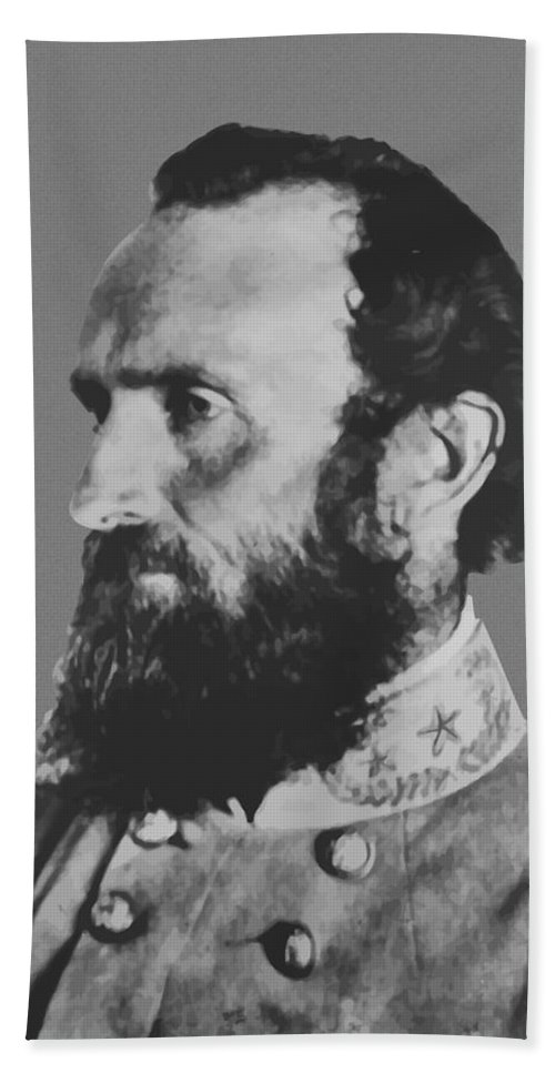Stonewall Jackson Bath Towel featuring the painting General Stonewall Jackson Profile by War Is Hell Store