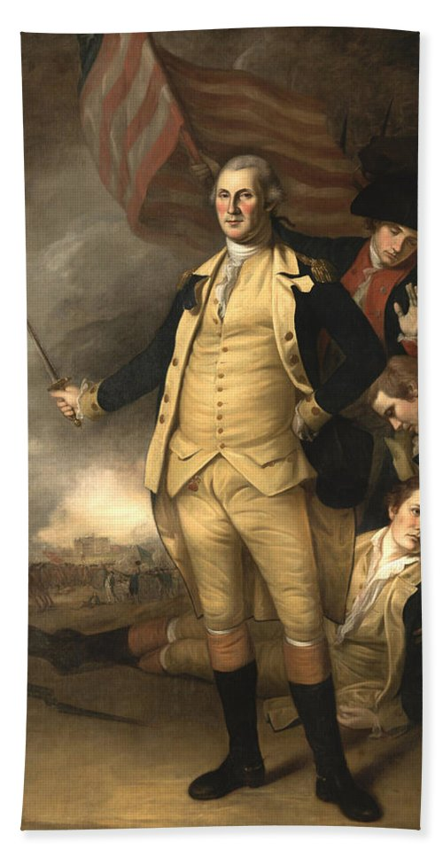 George Washington Hand Towel featuring the painting General Washington At The Battle Of Princeton by War Is Hell Store