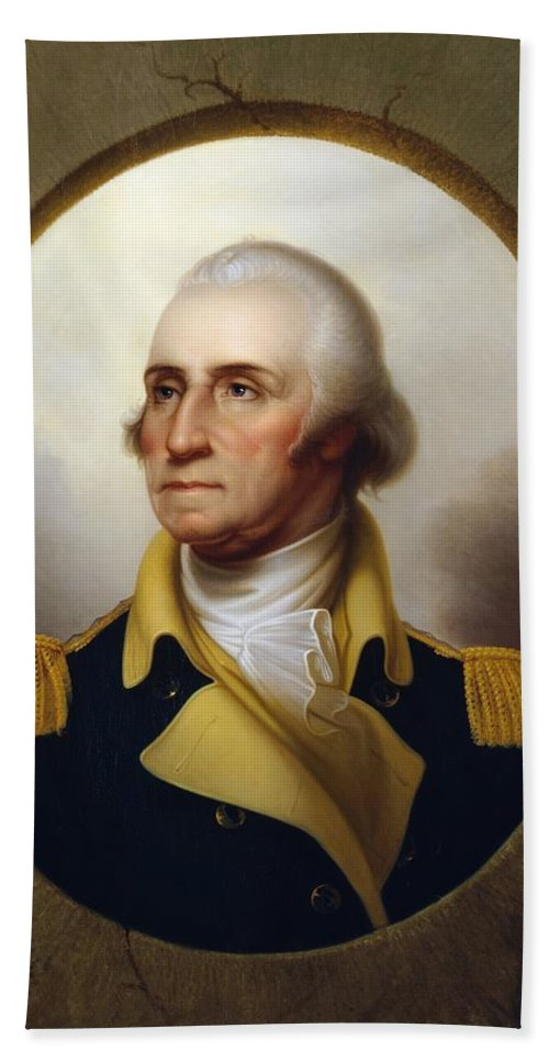 George Washington Hand Towel featuring the painting General Washington - Porthole Portrait by War Is Hell Store