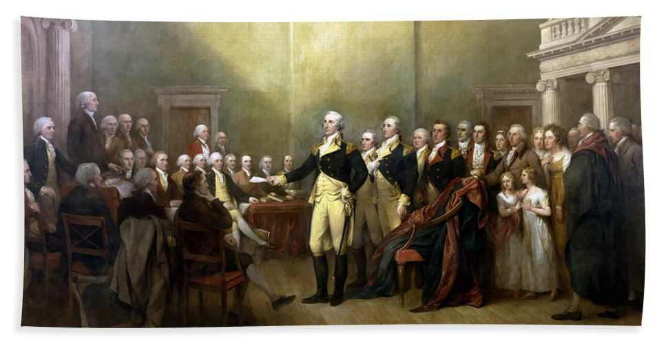 George Washington Bath Towel featuring the painting General Washington Resigning His Commission by War Is Hell Store