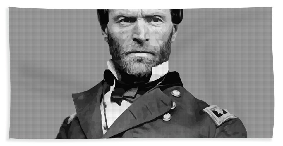 William Sherman Bath Towel featuring the painting General William Tecumseh Sherman by War Is Hell Store