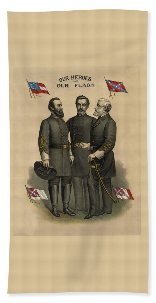 Confederate Hand Towel featuring the painting Generals Jackson Beauregard And Lee by War Is Hell Store