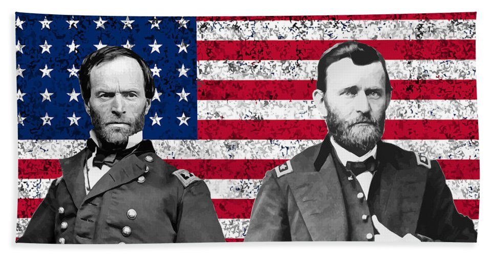 Civil War Bath Towel featuring the painting Generals Sherman And Grant by War Is Hell Store
