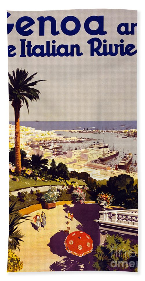 Genoa Hand Towel featuring the painting Genoa And The Italian Rivera Vintage Poster Restored by Carsten Reisinger