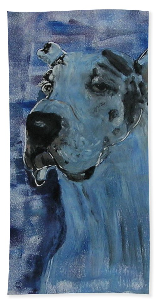 Great Dane Bath Sheet featuring the mixed media Gentle Giant by Cori Solomon