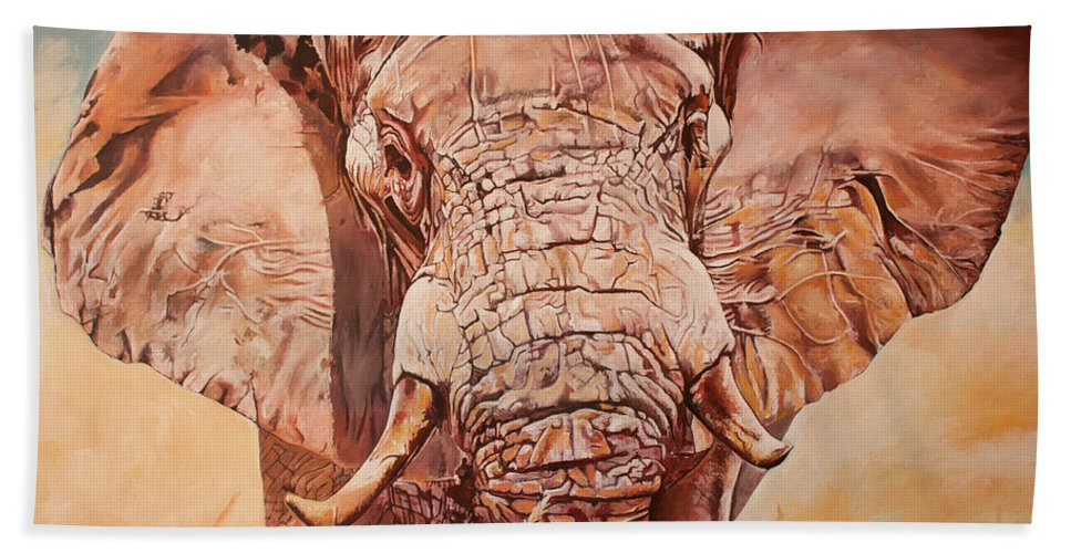 African Elephant Hand Towel featuring the painting Gentle Giant by Jethro Longwe