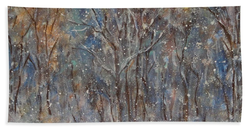 Art Around The World Project Bath Sheet featuring the painting Gentle Snow by Natalie Holland