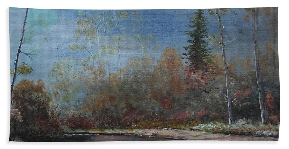 River Hand Towel featuring the painting Gentle Stream - Lmj by Ruth Kamenev