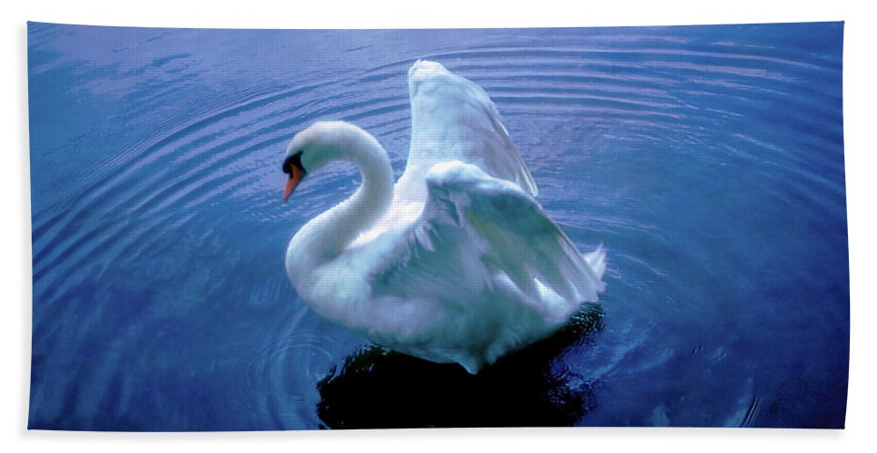 Swan Hand Towel featuring the photograph Gentle Strength by Marie Hicks