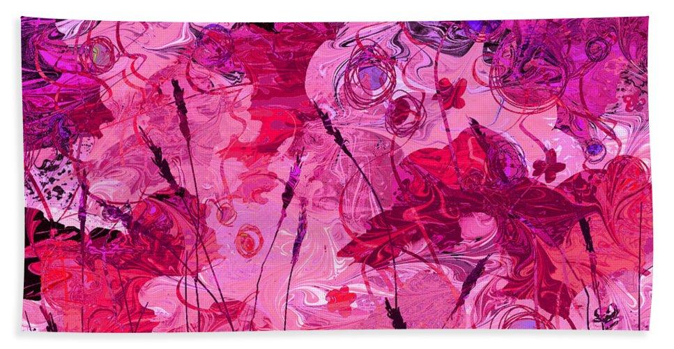 Abstract Bath Sheet featuring the digital art Gentle Words by Rachel Christine Nowicki