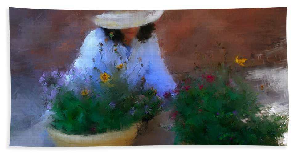 Woman Bath Sheet featuring the painting Gently Does It by Colleen Taylor