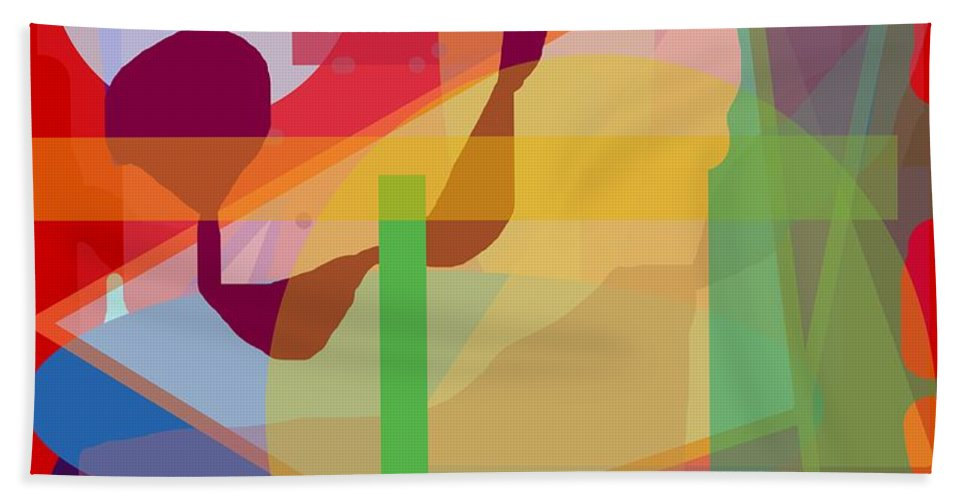 Abstract Hand Towel featuring the painting Geo Frenzy by Pharris Art