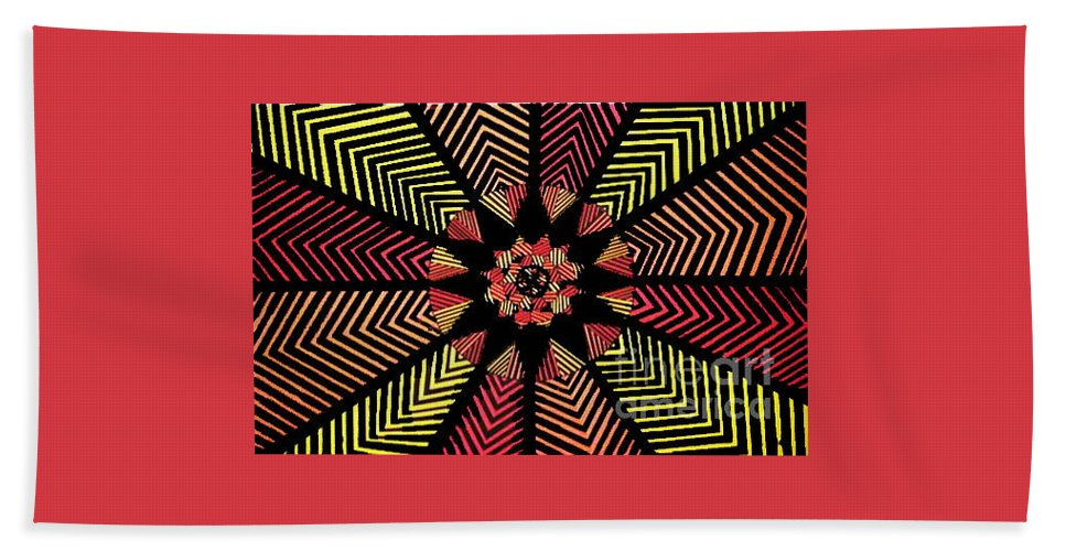 Art Hand Towel featuring the painting Geometric 5 by Nour Refaat