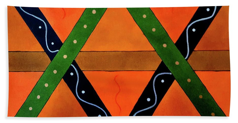 Abstract Drawing Hand Towel featuring the drawing Geometric Abstract II by Neal Alicakos