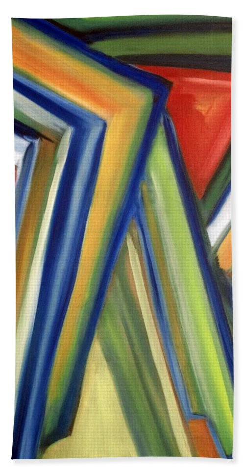 Rectangles Bath Towel featuring the painting Geometric Tension Series V by Patricia Cleasby