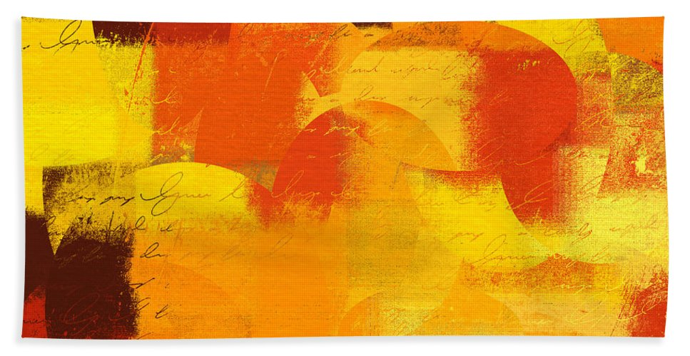 Orange Bath Sheet featuring the digital art Geomix 05 - 01at01 by Variance Collections
