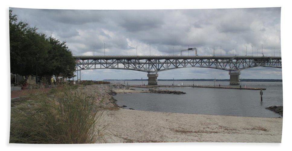 Yorktown Bath Sheet featuring the photograph George Coleman Bridge Yorktown, Virginia by Kimberly Scott