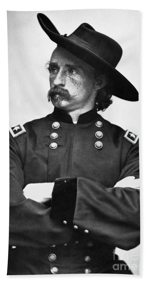 1860s Bath Sheet featuring the photograph George Custer (1839-1876) by Granger