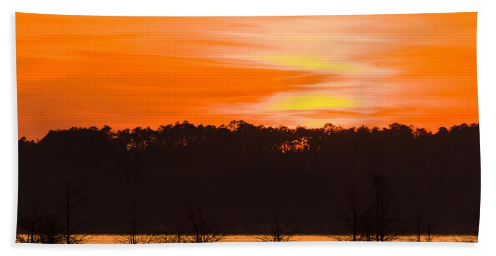 George T. Bagby Hand Towel featuring the photograph George T. Bagby State Park Sunset by Stefan Mazzola