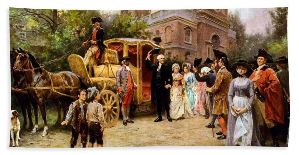 George Washington Bath Towel featuring the painting George Washington Arriving At Christ Church by War Is Hell Store