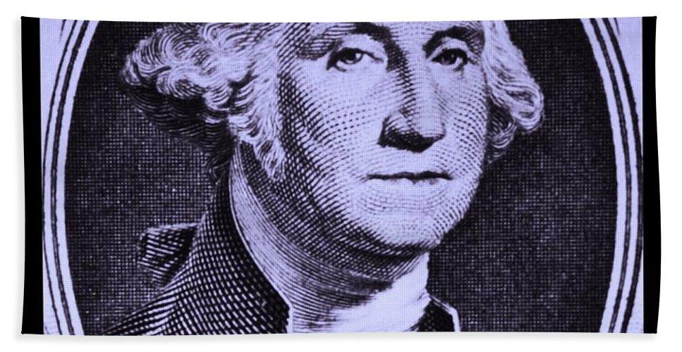 George Washington Bath Sheet featuring the photograph George Washington In Light Purple by Rob Hans