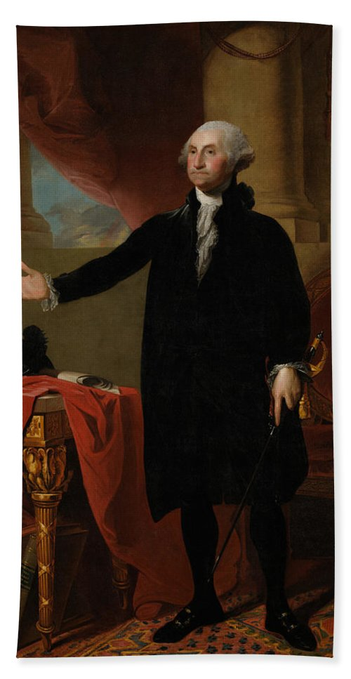 George Washington Hand Towel featuring the painting George Washington Lansdowne Portrait by War Is Hell Store