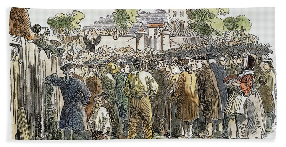 18th Century Bath Sheet featuring the photograph George Whitefield /n(1714-1770). English Evangelist, Preaching To A Crowd: Engraving, 19th Century by Granger