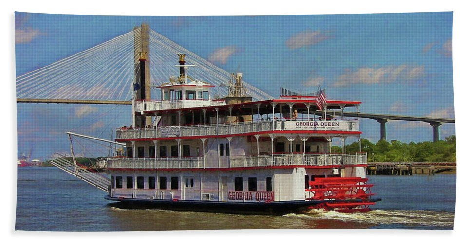 Riverboat Bath Sheet featuring the photograph Georgia Queen by JAMART Photography