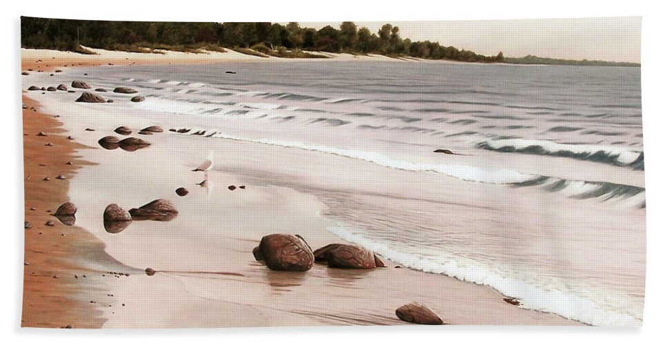Landscapes Bath Towel featuring the painting Georgian Bay Beach by Kenneth M Kirsch
