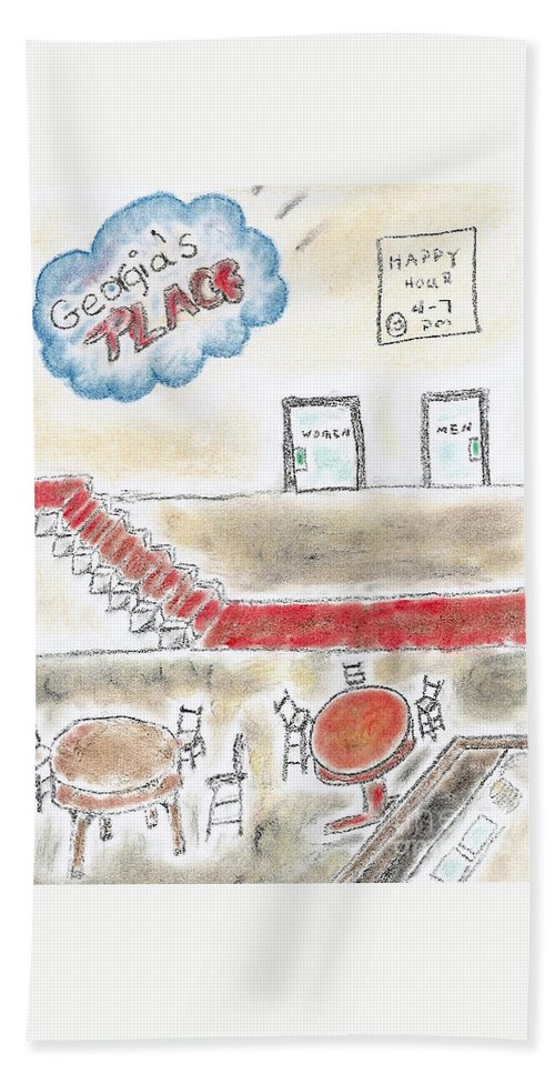 Charcoal Pencil Hand Towel featuring the mixed media Georgia's Place by Robyn Louisell