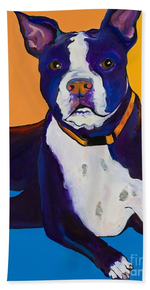 Boston Terrier Bath Towel featuring the painting Georgie by Pat Saunders-White
