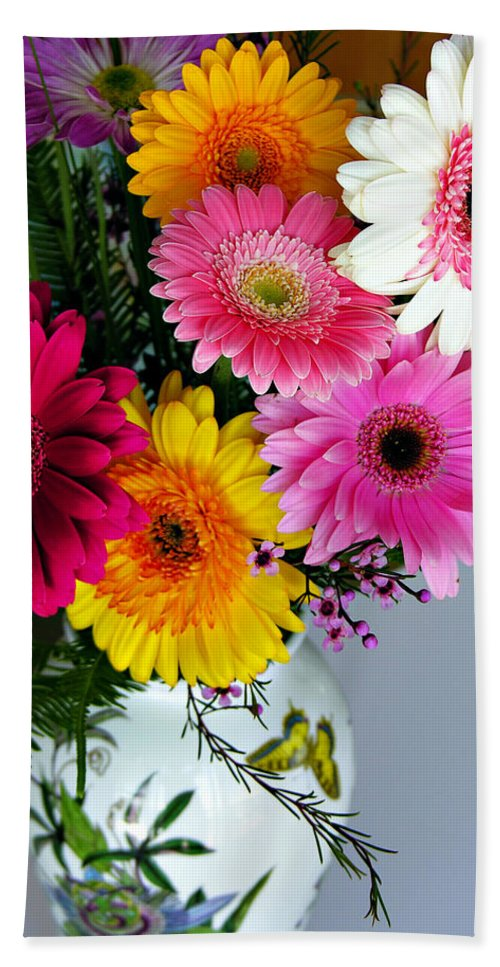 Flower Hand Towel featuring the photograph Gerbera Daisy Bouquet by Marilyn Hunt